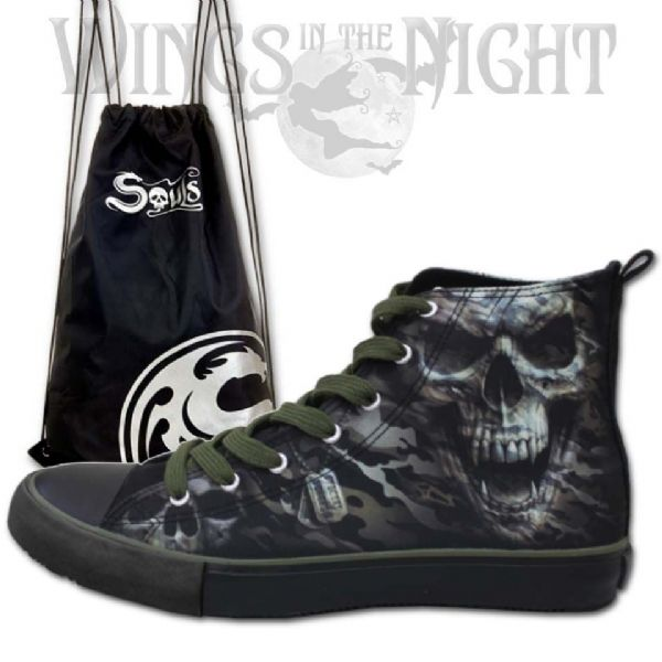 SPIRAL DIRECT Camo Skull Men's High Top Sneakers